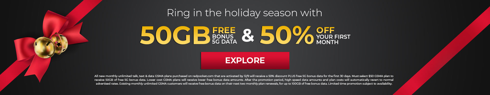 50 percent off first month along with 50gb free data for 30 days