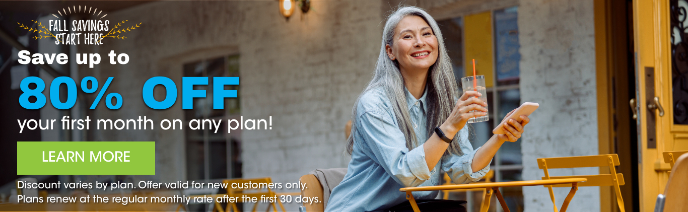 Save up to 80% off your first month any plan new customers only renews at regular rate - click to learn more