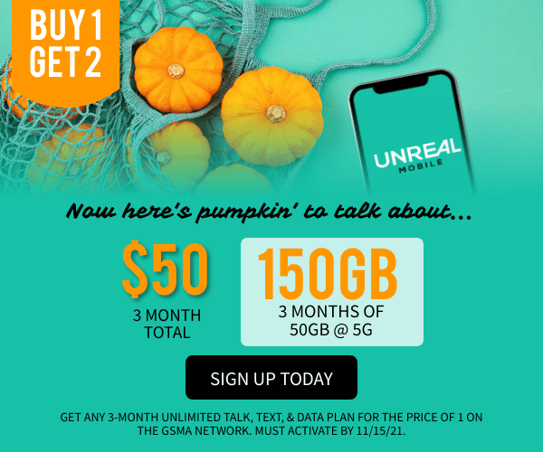 Buy 1 month get 2 free of the 50GB plan, activate by 11/15/2021 - signup today